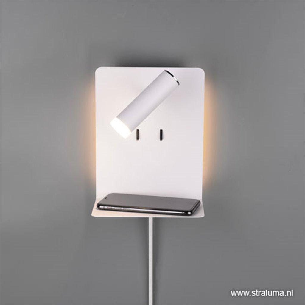 Wandlamp met usb oplaadpunt en plank wit