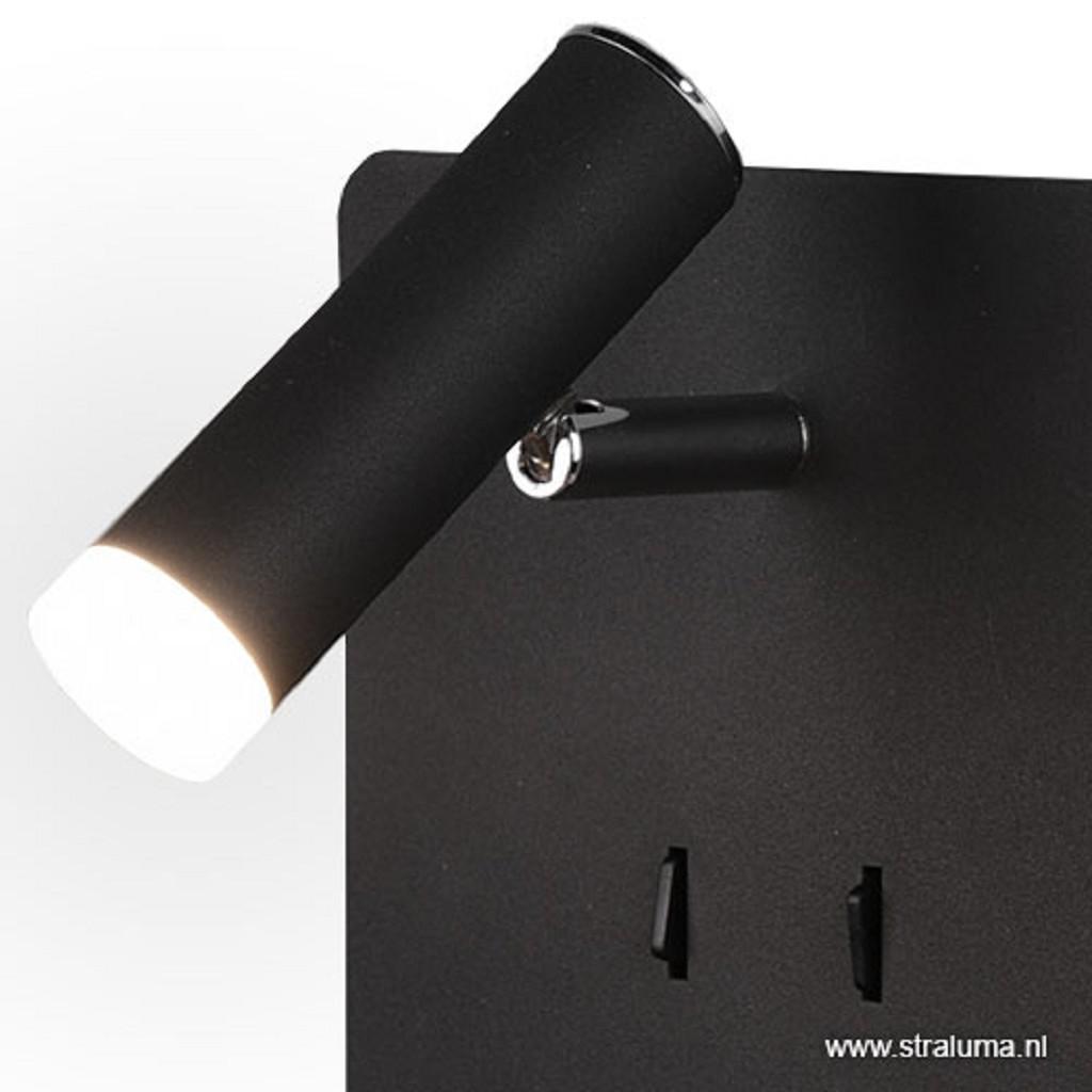 Bedlamp wandlicht & leesspot zwart usb