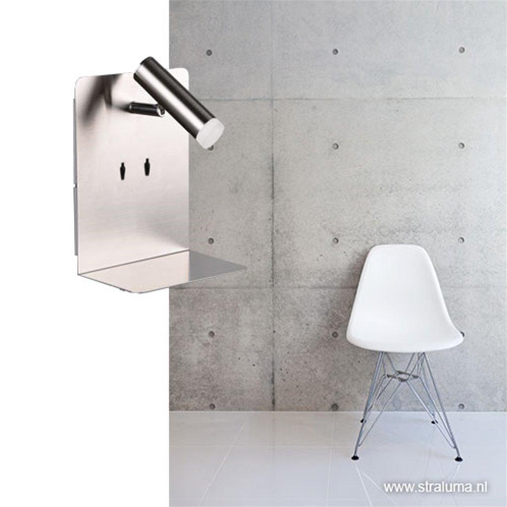 Wandlamp aluminium bedlamp met usb