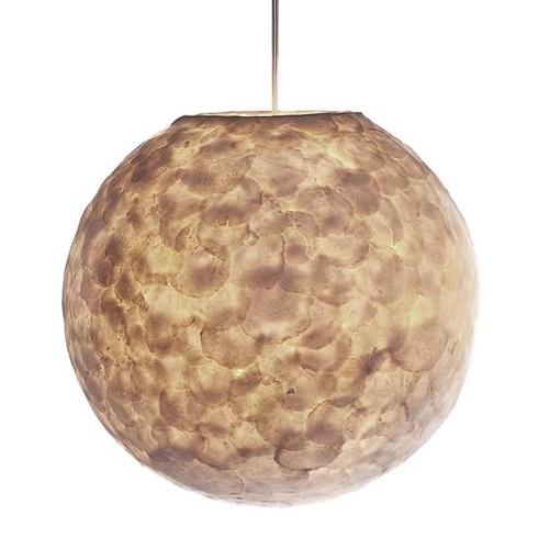 Romantische hanglamp bol creme schelp