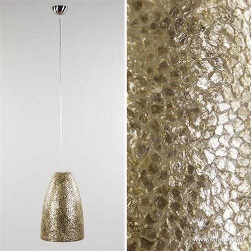 Schelpen hanglamp goud rond