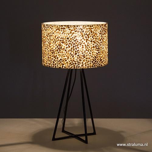 Tafellamp metaal met schelpen kap
