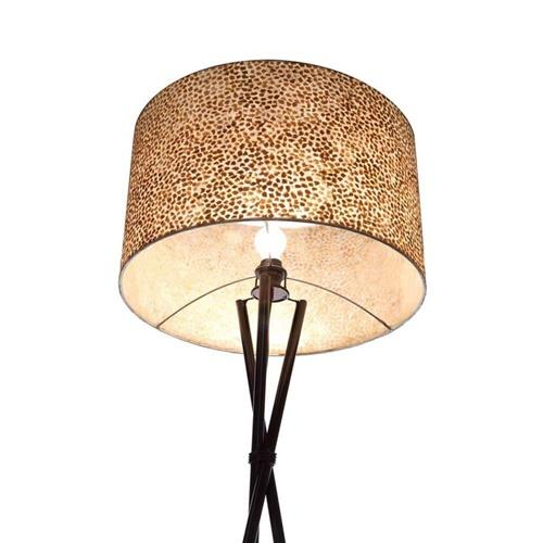 Driepoot schelpen vloerlamp zwart met bruin en goud