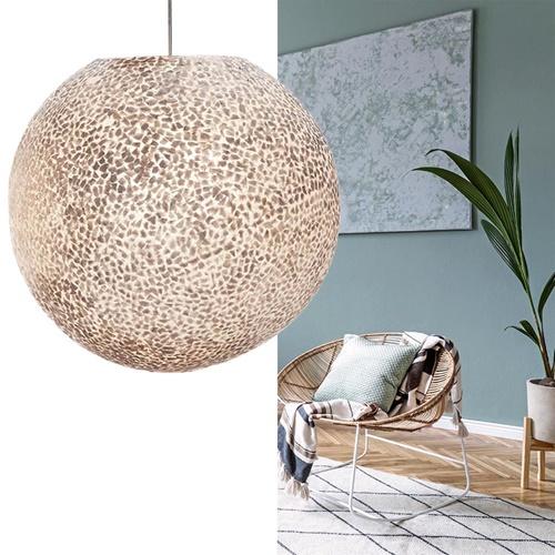 Ronde schelpen hanglamp wit/parelmoer 50 cm