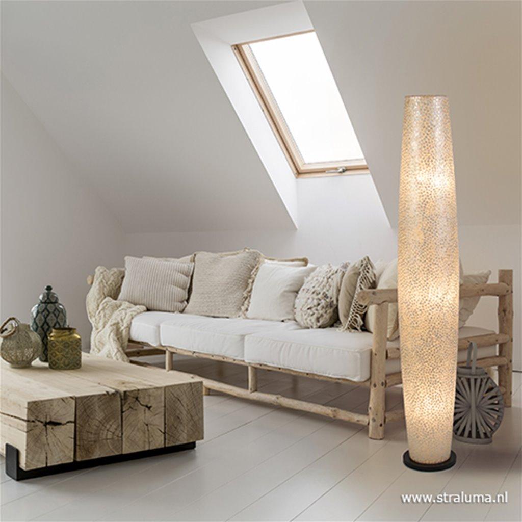 Decoratieve schelpen vloerlamp zuil
