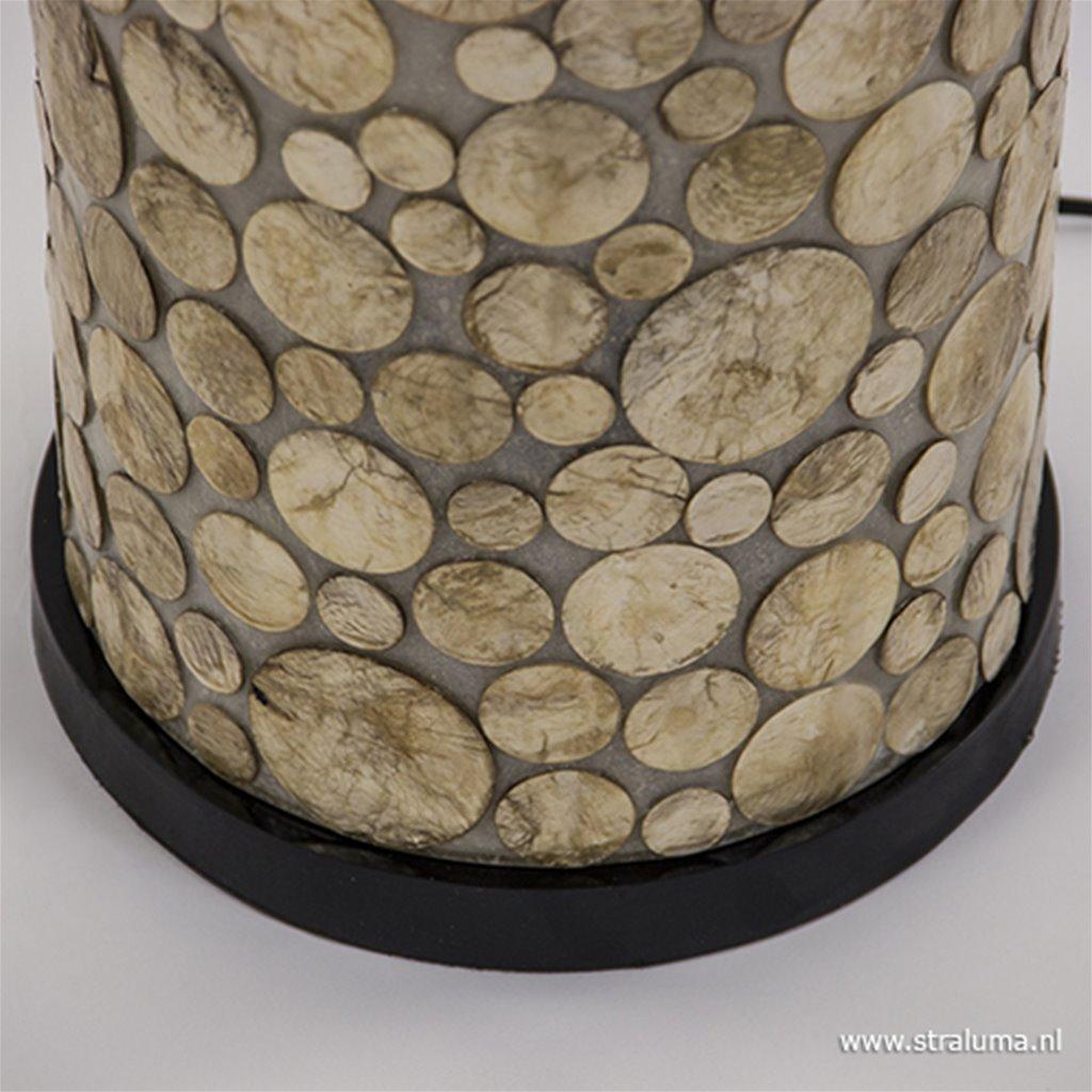 Schelpen vloerlamp goud cilinder groot