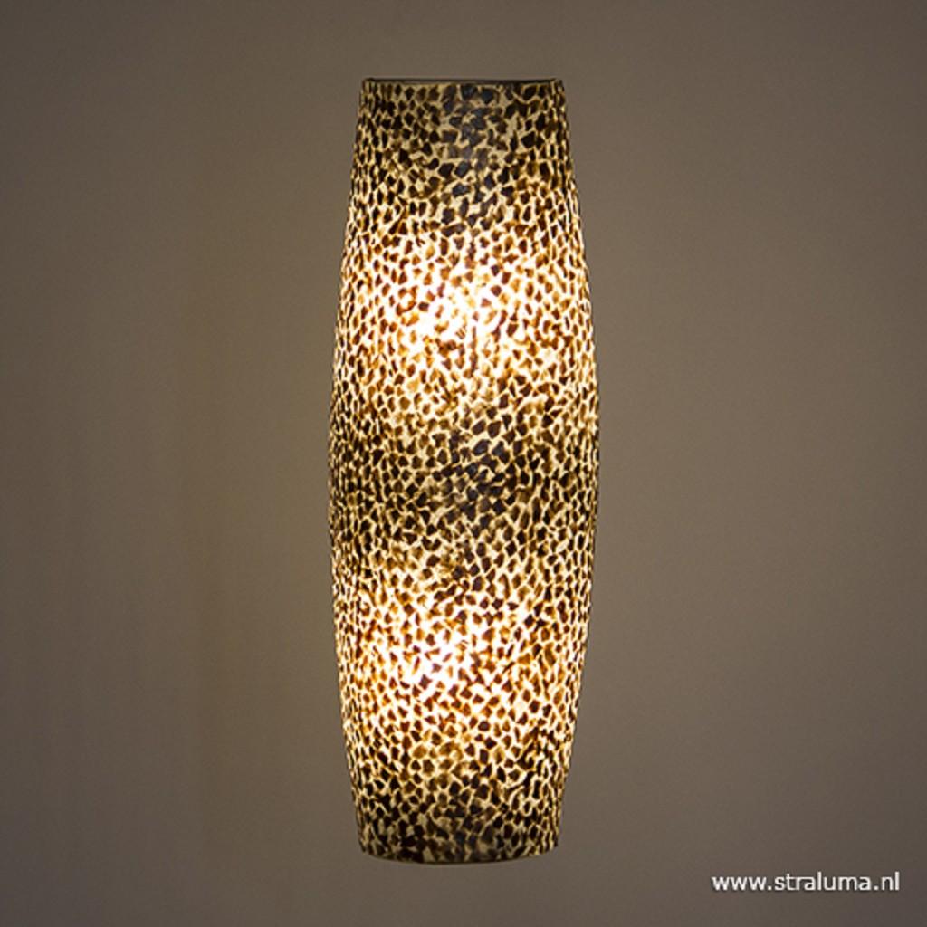 Beach wandlamp goud capiz schelpen