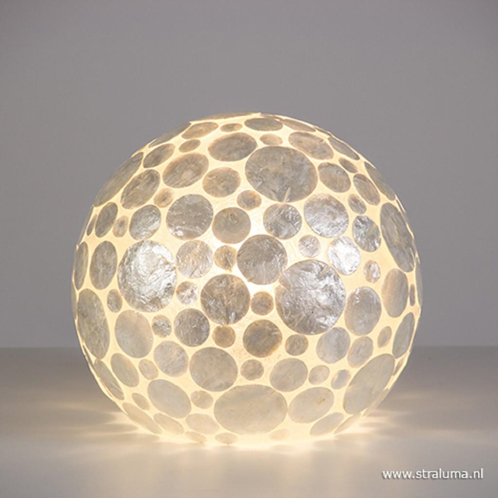 Tafellamp schelpen bol wit