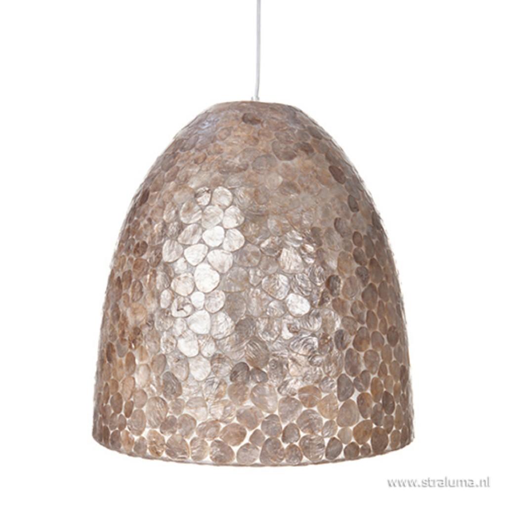 Bruin gouden hanglamp met capiz schelpen