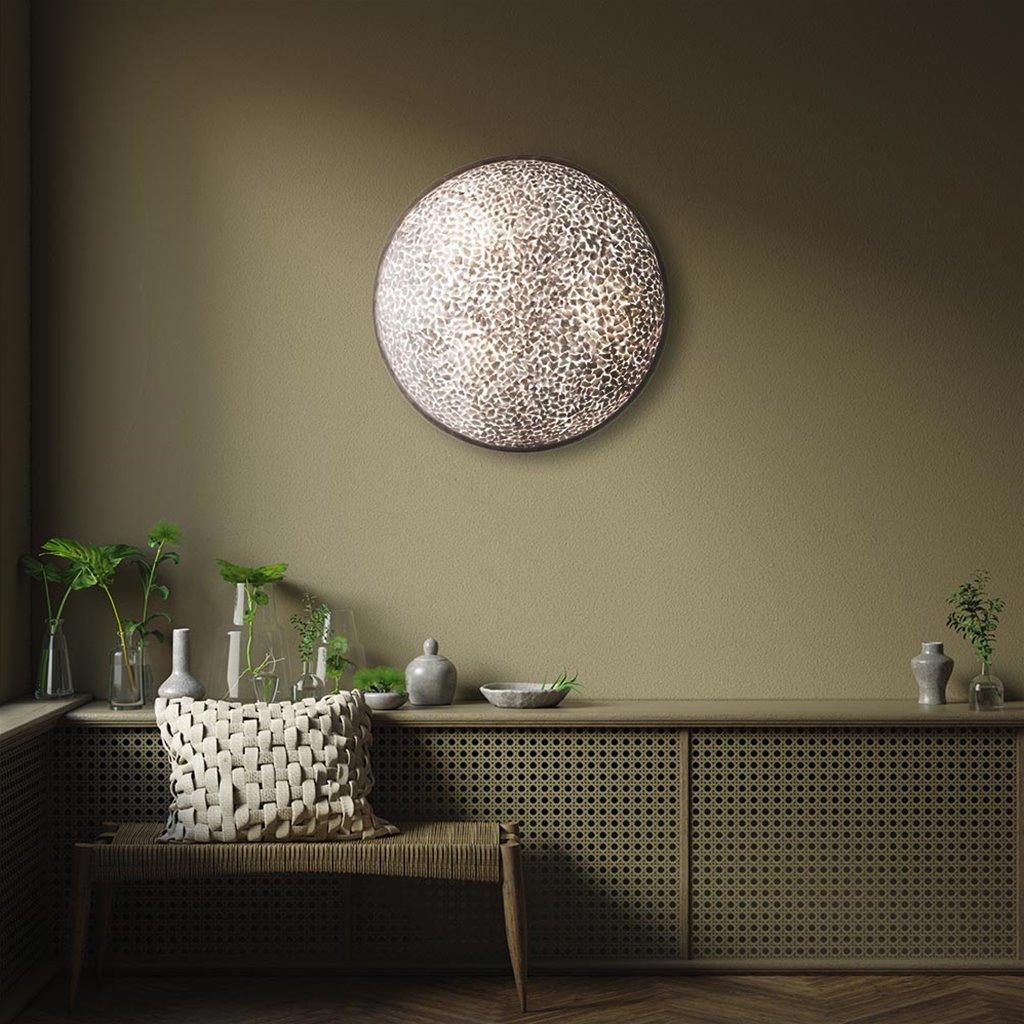 Ronde schelpen wandlamp wit/parelmoer 60 cm