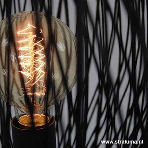 Zwarte tafellamp Bamboe rond 35 cm