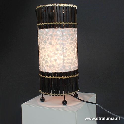 Schelp Tafellamp Rotan bruin Groot