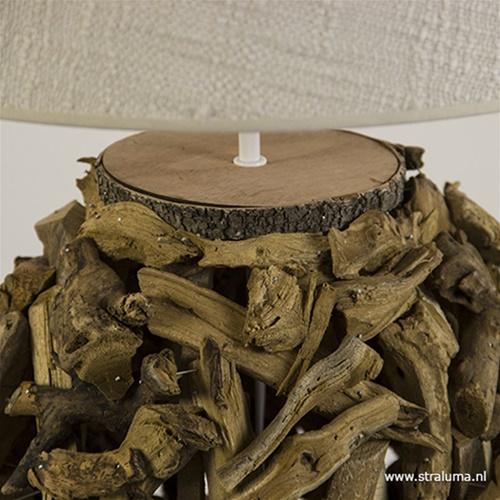 Houten tafellamp-schemerlamp met kap
