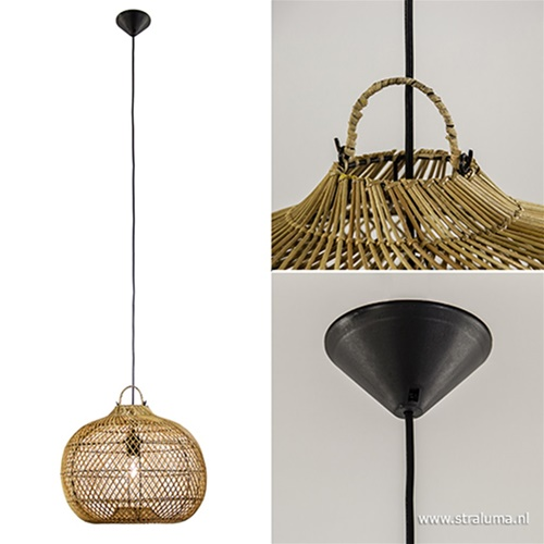 Sfeervolle houten hanglamp rotan