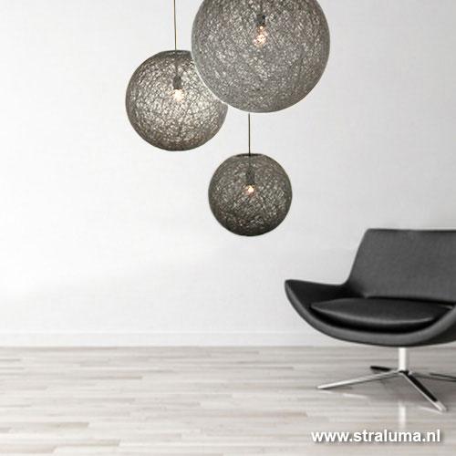 Hanglamp bol Abaca grijs woonkamer | Straluma