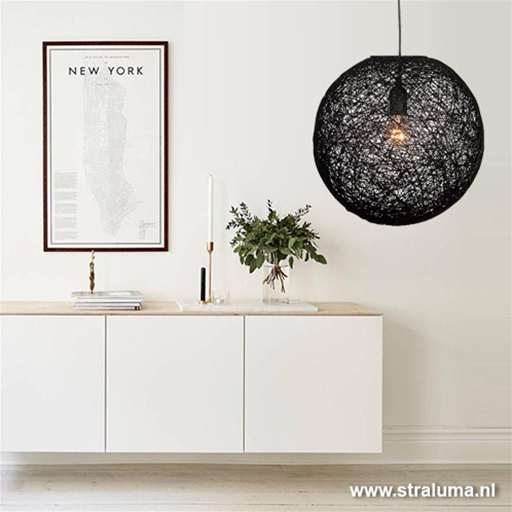 Hanglamp bol Abaca zwart 60cm