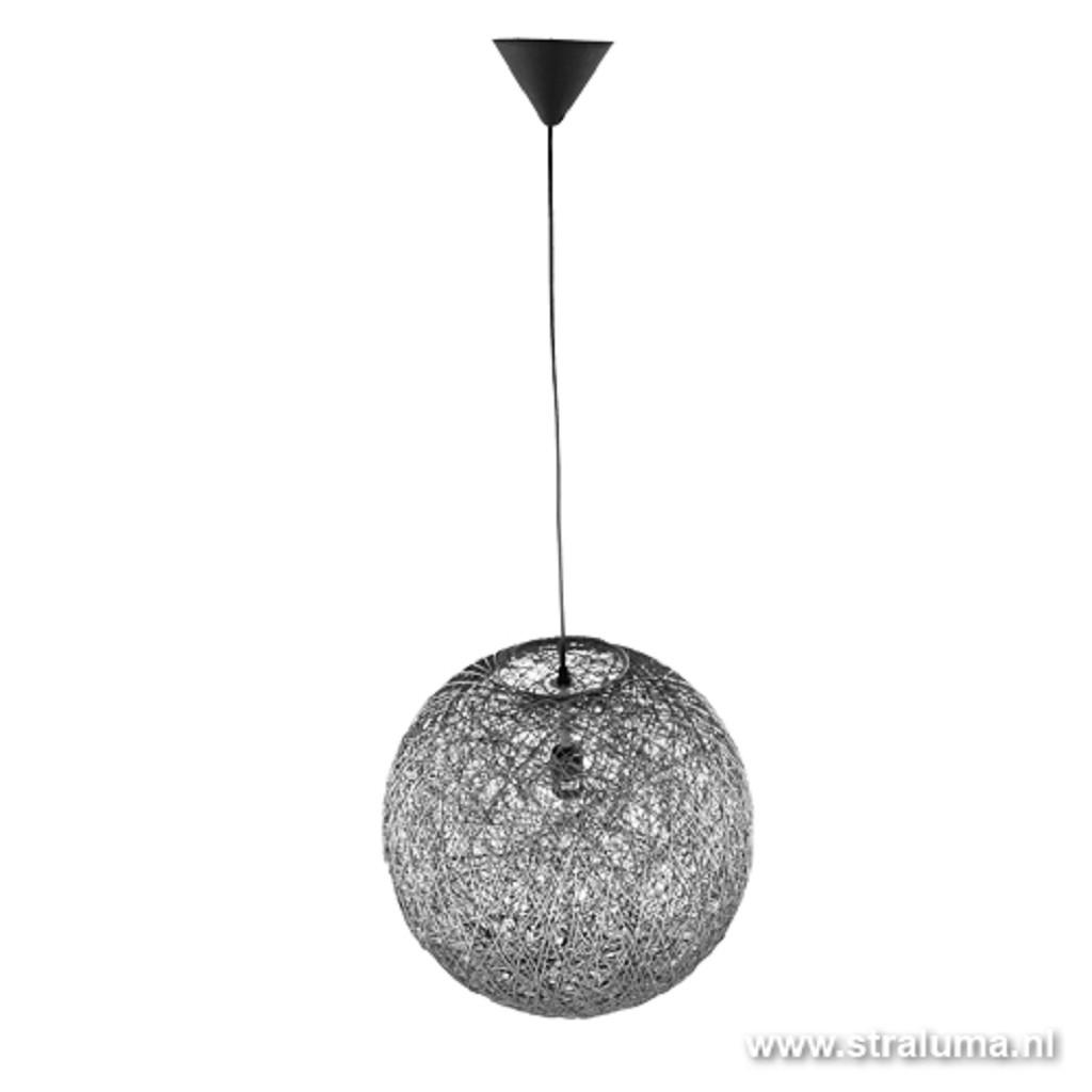 *Abaca hanglamp bol draad grijs eetta