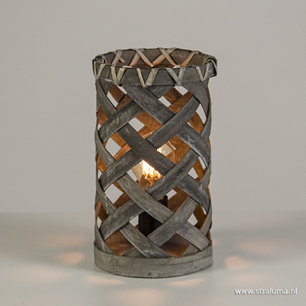 Kleine sfeer tafellamp gevlochten hout