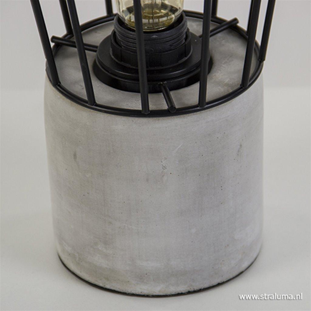 Tafellamp beton met metalen korf