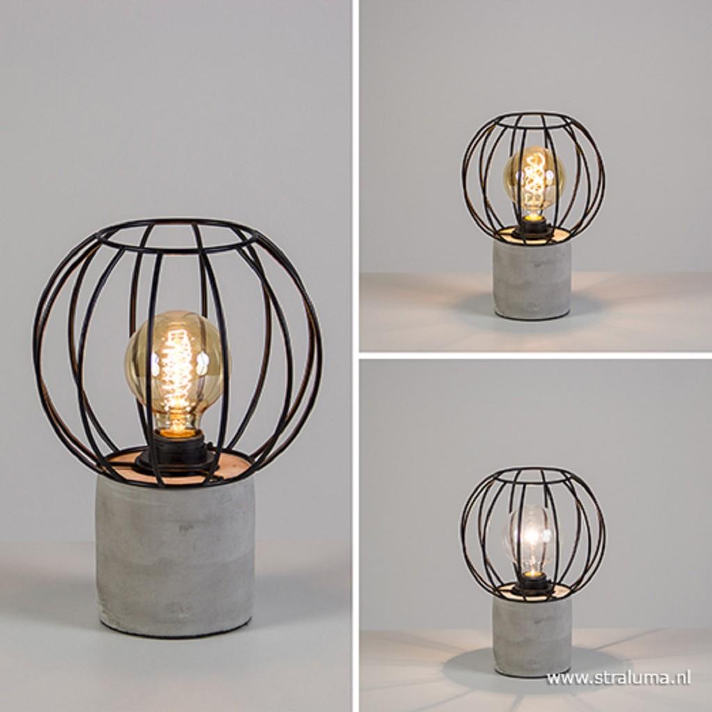 Tafellamp beton met zwarte draadkap