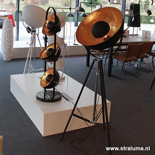 Vloerlamp 3-poot schijnwerper Zwart/goud