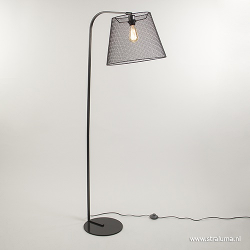 Grijze vloerlamp met kap van gaas
