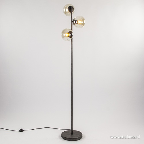 Oud zilveren vloerlamp met amber glas