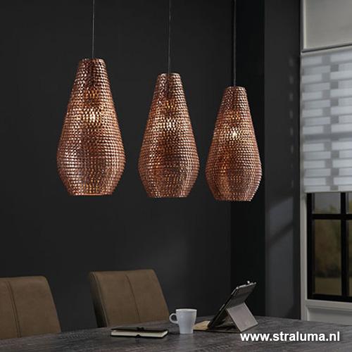 Hanglamp Brassy eettafel 3-lichts koper | Straluma