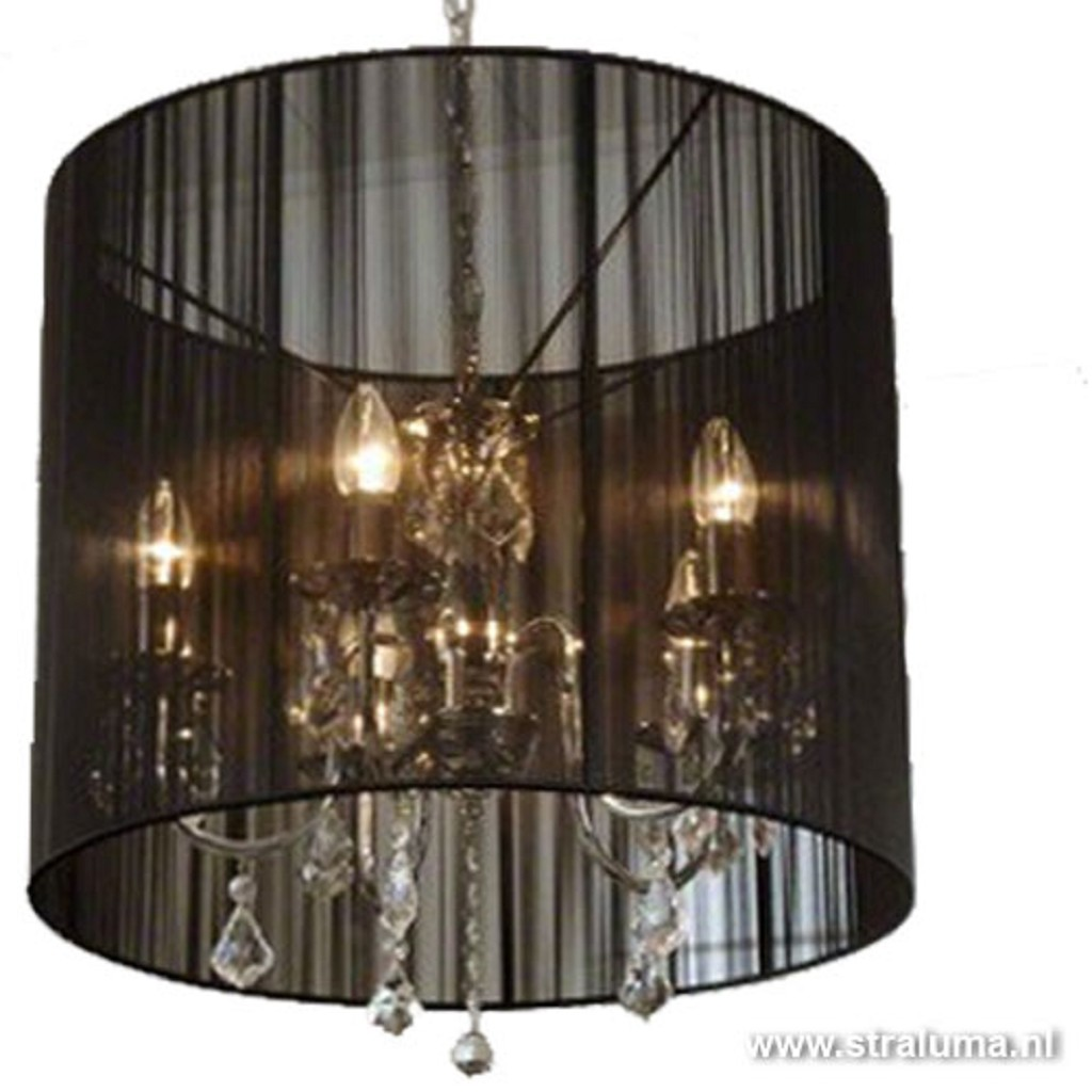 Hanglamp Chroom/zwart kroonluchter kap