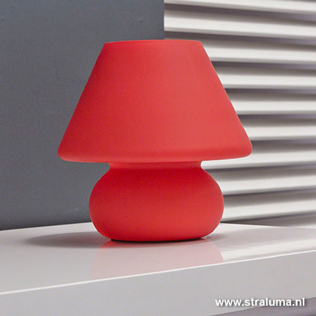 Leuke tafellamp rood glas tienerkamer