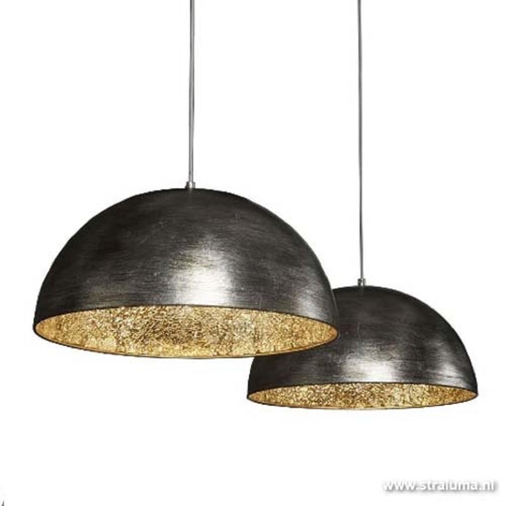 Hanglamp zwart-zilver mooie binnenkant