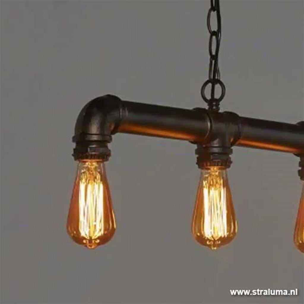 Stoere industriele hanglamp pijpleiding