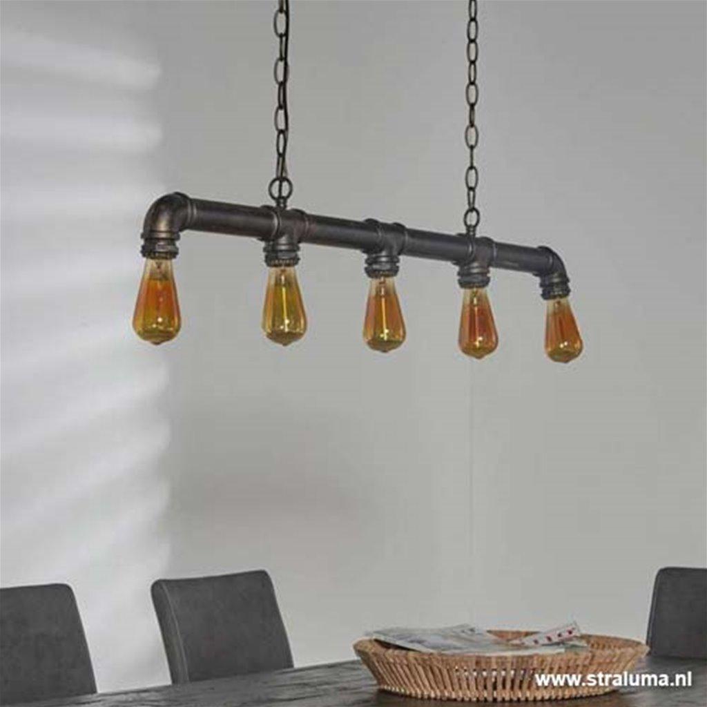 Hanglamp Industrial tube 5-lichts bar