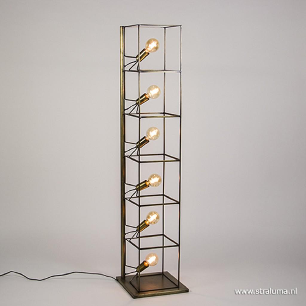 Landelijke frame vloerlamp brons modern