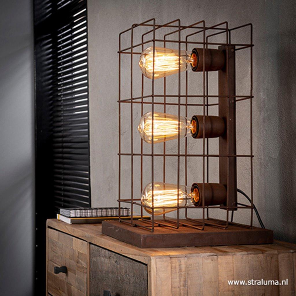 Industriële tafellamp roest kooi