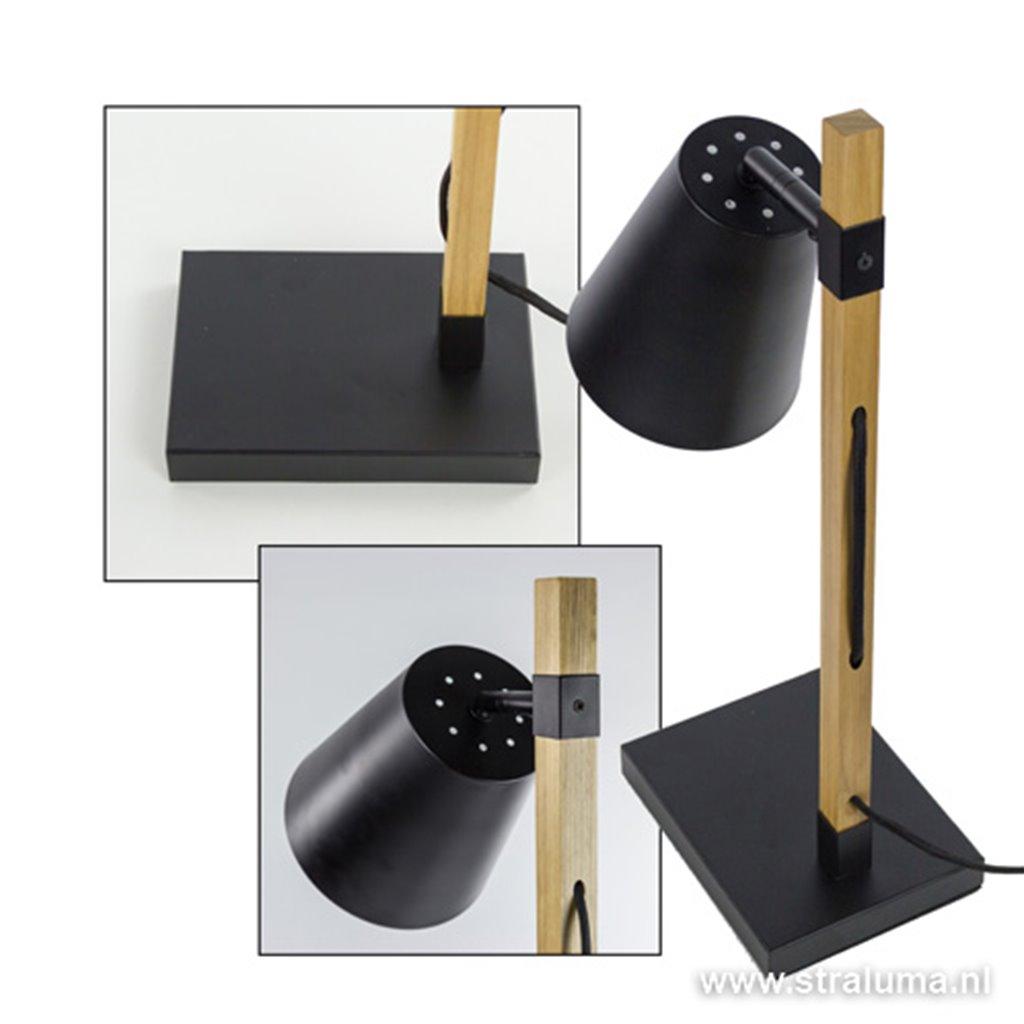 Moderne tafellamp-leesl. zwart en hout