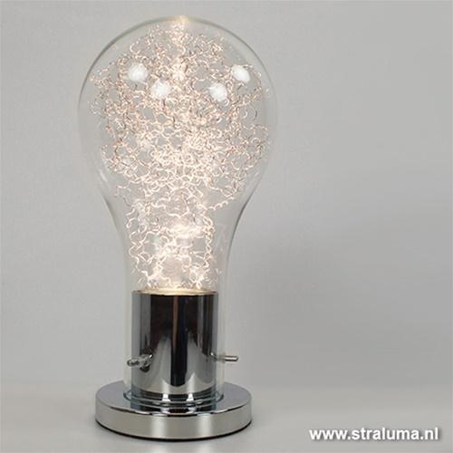 Moderne chromen tafellamp gloeilamp