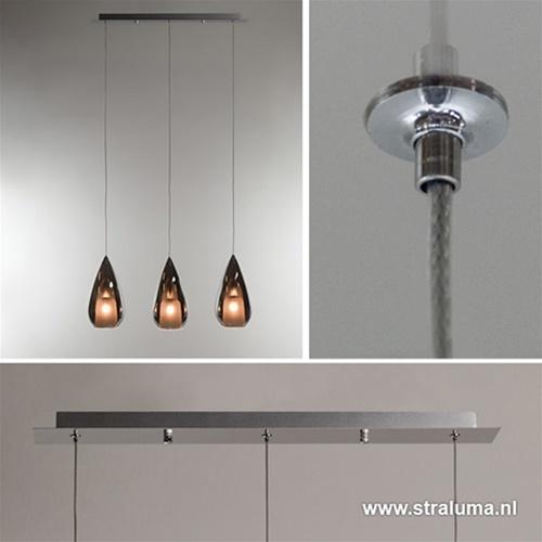 Kleine eettafel hanglamp glas 'Smoke'