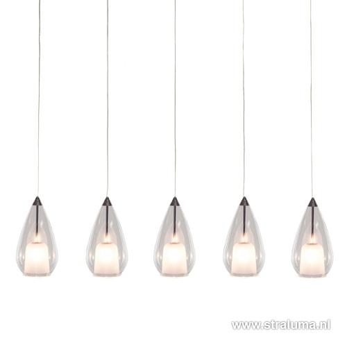 Verstelbare hanglamp eettafel glas 5-L