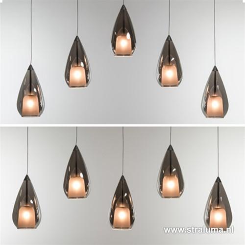 Hanglamp 5L druppel glas smoke