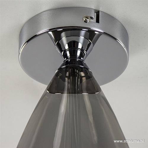 Plafondlamp glas drop smoke/chr incl.g9