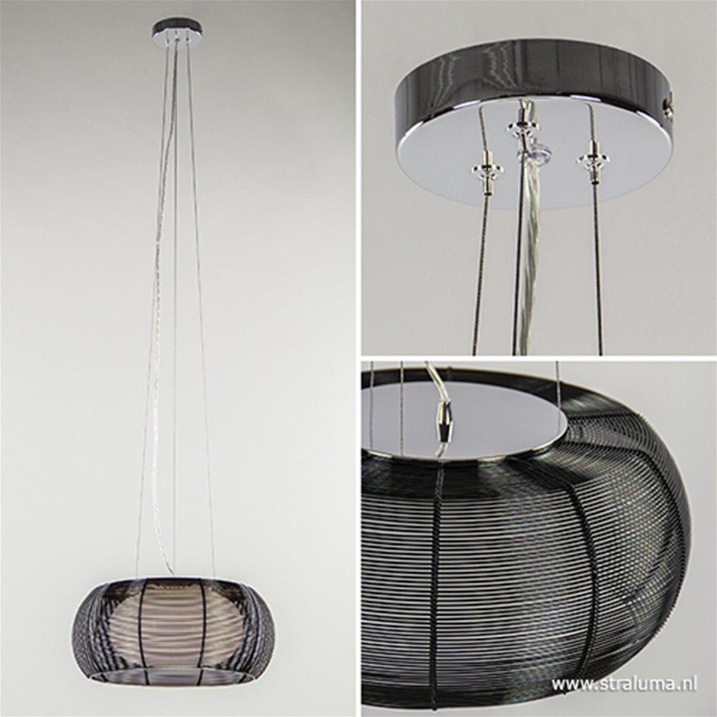 Hanglamp zwart draad met wit glas 40cm