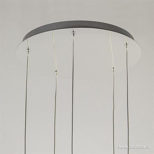 Ronde vide-hanglamp 5-lichts glas 3 mtr