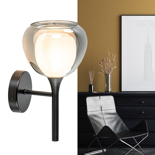 Moderne wandlamp zwart met smoke glas