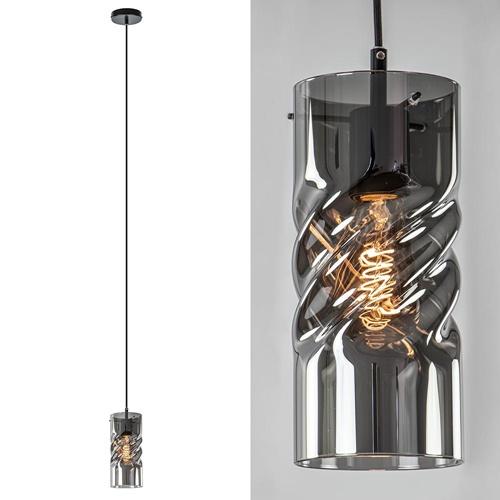 Moderne hanglamp zwart met smoke glazen cilinder kap
