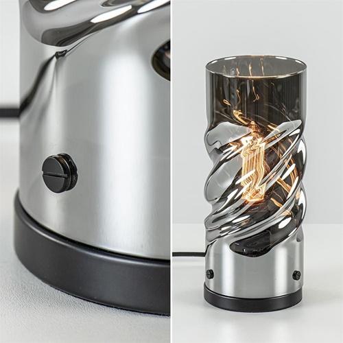 Smoke glazen tafellamp cilinder met gedraaid effect
