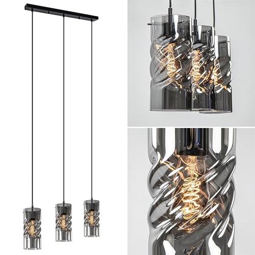3-Lichts hanglamp zwart met smoke glazen kappen