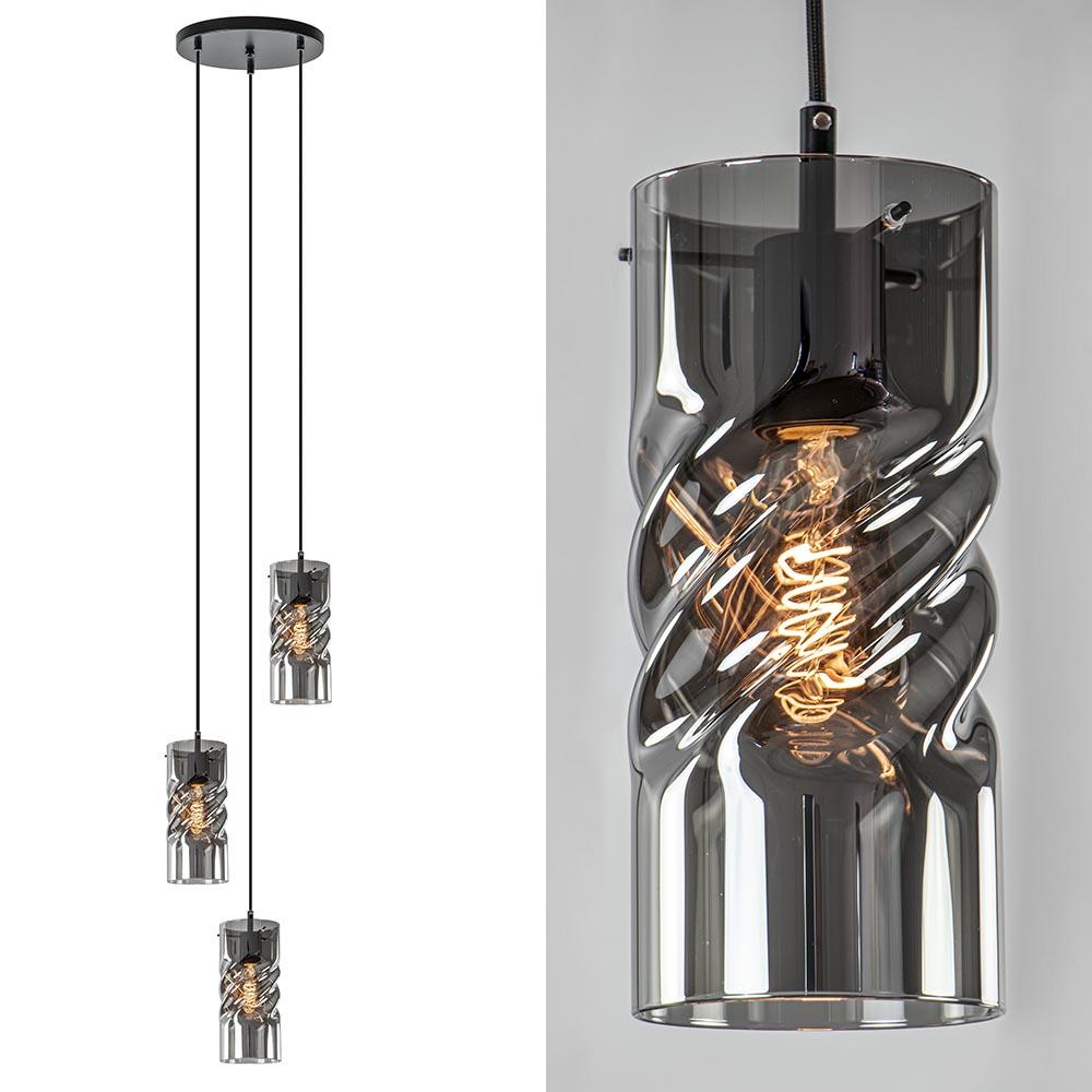 Ronde 3-lichts hanglamp met gedraaid smoke glas
