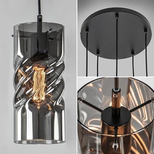 Videlamp 5-lichts smoke glas met zwart