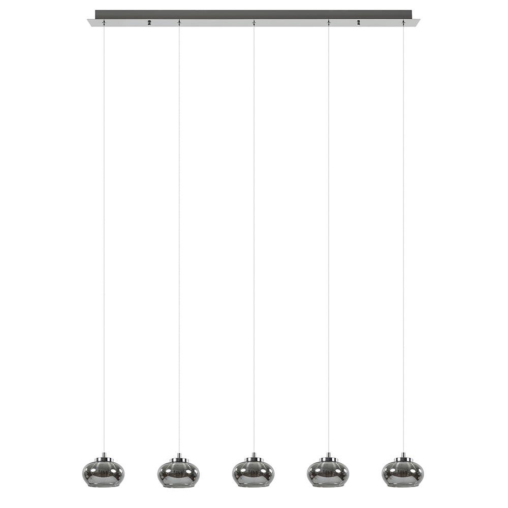 5-Lichts LED eettafelhanglamp smoke glas dimbaar